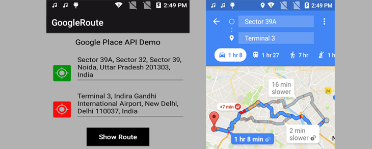 Draw Route from Source to Destination on Google Map